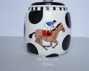 Racing horse, Derby, Jockey silk, horseshoe, hand painted, cermaic, canister, cookie jar