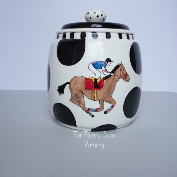 Racing horse, Derby, Jockey silk, horseshoe, hand painted, cermaic, canister, cookie jar