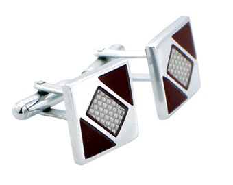 Silver Fiber Square and Red Enamel Cufflinks 1200146