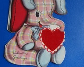 Vintage Valentine Elephant With Heart Sweet 1950's  or Earlier Retro