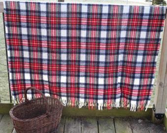 Vintage Wool Blend Lap Blanket Plaid or Tarden Colors