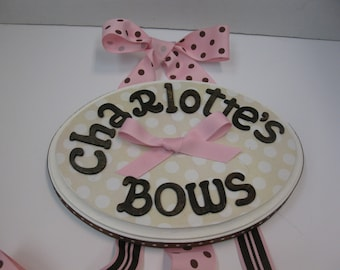 Bow Holder with Stained Letters