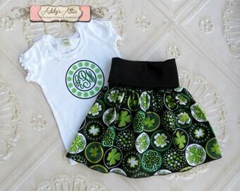 St. Patricks Day Outfit, Girls St Patricks Day Outfit, Yoga Skirt, Shamrock Shirt, Toddler Girls St Patricks Day Outfit