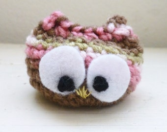 Crochet owl doll, Owl stuffed animal, Big eyed owl doll, ready to ship, hand crochet, crochet animal, desk sitter, cute crochet owl