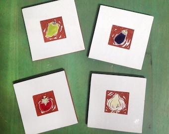 "ON SALE: Set of 4 vegetable ceramic wall hangings, tiles or coasters 4""x4"""