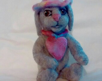 Needle felt floppy ear bunny with heart necklace