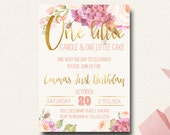 Boho Flower Girls First Birthday Invite Rustic Floral One Little Candle Natural Glamping