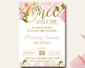 Once Upon A Time Fairy Tale Birthday Boho Chic Invitation Princess Gold and Floral