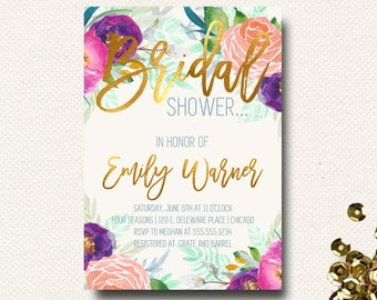 Bridal Shower Invitation Floral Gold Dusty Blue Bright Color Spring Summer
