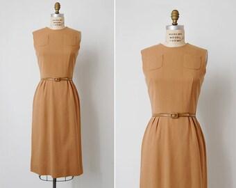 vintage 1950s wool dress / camel wool dress / 1950s laiglon dress / Belfort dress