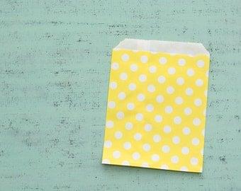10 paper bags yellow polka dot