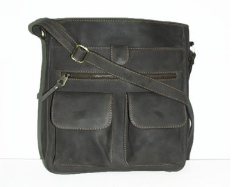 Leather MESSENGER Bag // Leather Cross-body Purse // Leather Handbag Iris in vintage grey