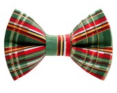 "Cat Bow Tie - ""The Home For The Holidays"" -  Holiday Plaid"