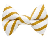 "Cat Bow Tie - ""The Toastmaster"" -  White and Gold Stripe"