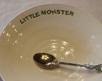 Little Monster Ceramic Keepsake Baby Dish Bowl Heirloom Hand Thrown
