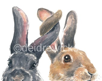 Bunny Watercolor PRINT - Rabbit Watercolor, 5x7 Print, Nursery Illustration