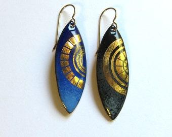 Gold enamel earrings Blue or black dangle earrings Bohemian enameled copper art jewelry Unique artisan gold circle marquis earrings