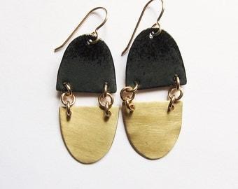 Black and gold dangle earrings Brass and black enamel contemporary earrings Elegant modern enameled copper jewelry Simple everyday earring