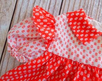 Vintage Little Girl Toddler Dress / Red Floral / 9-12 Months
