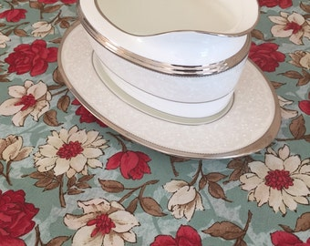 Teal Floral Table Runner