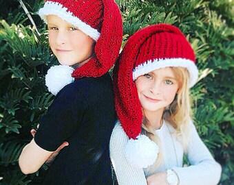 Knit Santa Hat, Baby Santa Hat, Child Santa Hat, Womens Santa Hat, Mens Santa Hat, Christmas Hat, Holiday Hat