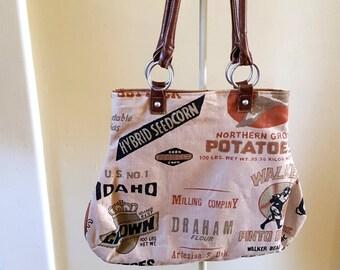 Rustic Feedsack Style Handbag Upcycled Handles
