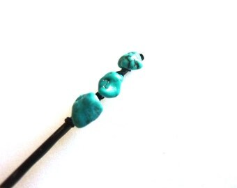 Triple Turquoise nugget Bobby Pin - Something Blue - Gemstone Bobby Pin