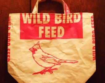 VALUE PRICED,  SMALL Upcycled Recycled Repurposed  Grocery Market Tote or Gift  Bag for Bird Lovers