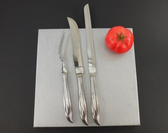 National Stainless STARETTE Flatware - Carving Set Knives Meat Fork - Atomic Era Starburst Retro N.S. Co.