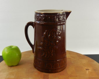 "Antique Stoneware 9"" Pitcher - Brown American Beauty Rose"