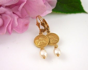 Angel Earrings, Gold Pearl Earrings, Guardian Angel Pearl Drop Earrings, Christmas Angel, Raphael White Pearl Earrings, Wedding Earrings