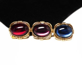 Jewel Tone Bar Pin - Oval Red Blue & Purple Cabochons - Goldtone Bar Brooch Setting - Modern Retro Design -