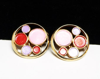 Trifari Mod Round Earrings - Clip on Style Red and Pink Circles - Designer Signed - 1960's - 1970's Retro Mod Style
