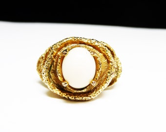 Abstract White & Gold Ring - Goldplated Vintage Signed 14K HGE EJ and Crown
