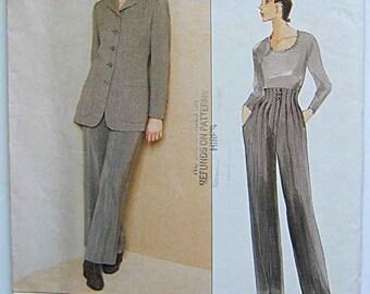Anne Klein Misses' Jacket and Wide Leg Pants Vogue 1674 Sewing Pattern UNCUT Sizes 18, 20, 22