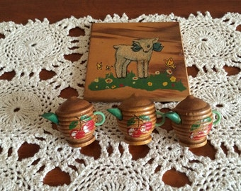 Tea Kettle Pushpins Vintage Tiebacks with Cork Backing and Little Lamb Picture Vintage Combo Lot Small Wood lot Found treasures