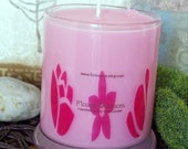 Flower Blossoms Scented  Vegan Soy Wax Jar Candle, Limited Edition Fragrance, Hand Blended Fragrance Pink Jar Candle