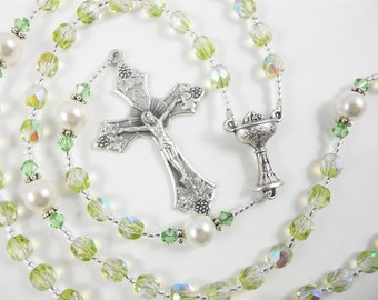August Birthstone Peridot Green Personalized Rosary - Baptism, First Communion, Confirmation