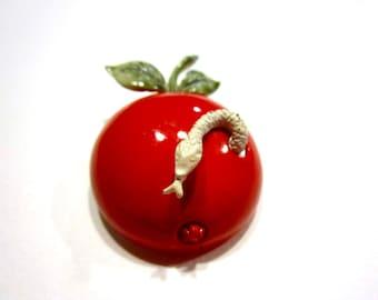 Red Apple Brooch Trembler Worm Vintage Coro Enameled Pin