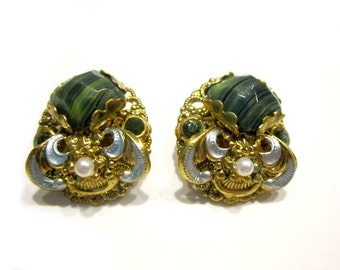 Vintage Earrings Pearl Enameled Clip Striped Green Glass Signed