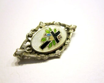 Vintage Guilloche Enamel Cross Pin Enameled Small Brooch 1930 As Is Antique Jewelry Religious Faith Jewelry
