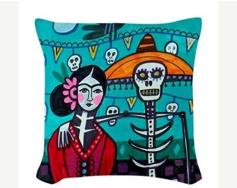 40% Off - Day of The Dead Pillow -  - Throw Pillow Mexican Folk Art Frida Kahlo, Sugar Skulls, Skeleton (HG625)