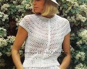 Vintage Crocheting Pattern retro fitted openwork crochet lace blouse top PDF 825 from WonkyZebra