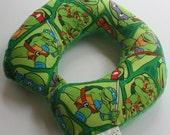 Child Travel Neck Pillow - Turtle Power w/ Green Minky