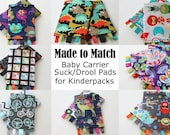Baby Carrier Suck/Drool Pads - For Kinderpack (Yes Deer, Dino Mite, Riptide, Bikes, Super Kids, more) - Choose Straight, Curved, & Ruffles
