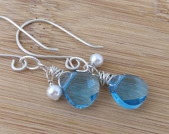 Blue Swarovski Crystal Briolette Earrings. Sterling Silver Wire Wrapped. Turquoise Blue Glass Earrings. Ocean Jewelry. Teardrop Earrings