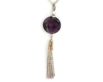 Amethyst detachable pendant with silver tassel
