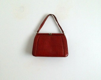 Old Reptile Leather Handbag Terracotta Vintage 1940s 40s