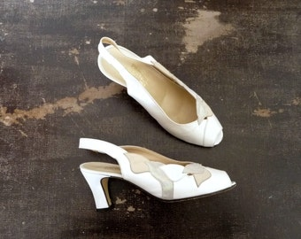 Vintage 80s/90s PIERRE LAURENCE Heels Brides Backs  Open Front Pearly Beige / Size 38Eur 6.5Us 5Uk