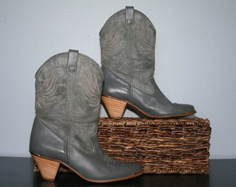 VTG Grey Boots • Short Leather Cowboy Boots • Grey Cowboy Boots • Embroidered Cowgirl Boots